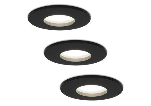 HOFTRONIC™ Set van 3 stuks dimbare LED inbouwspots Porto met 5 Watt 6000K spot IP44 Zwart