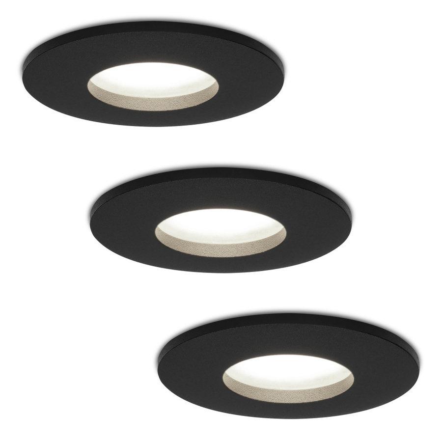 Set van 3 stuks dimbare LED inbouwspots Porto met 5 Watt 6000K spot IP44 Zwart
