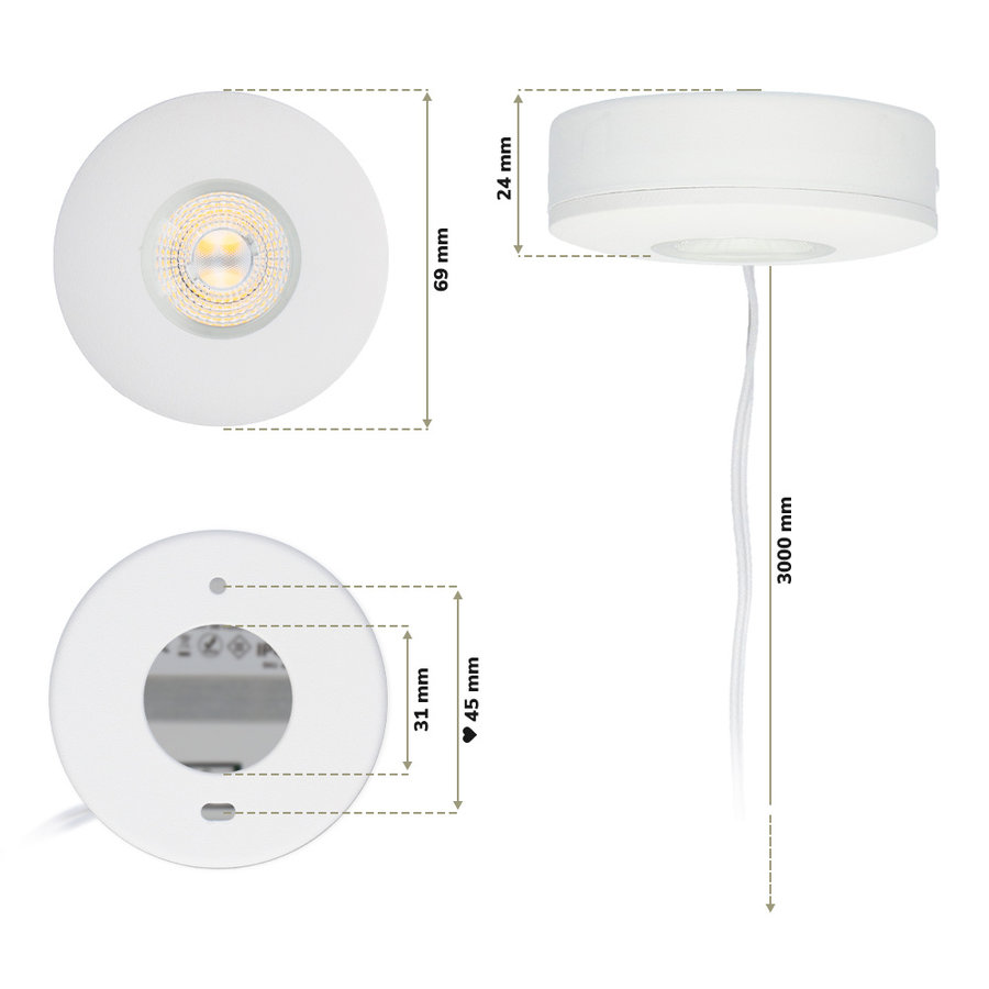 LED Opbouwspot Pavo wit 3 Watt 2700K 260lm Ø69 mm