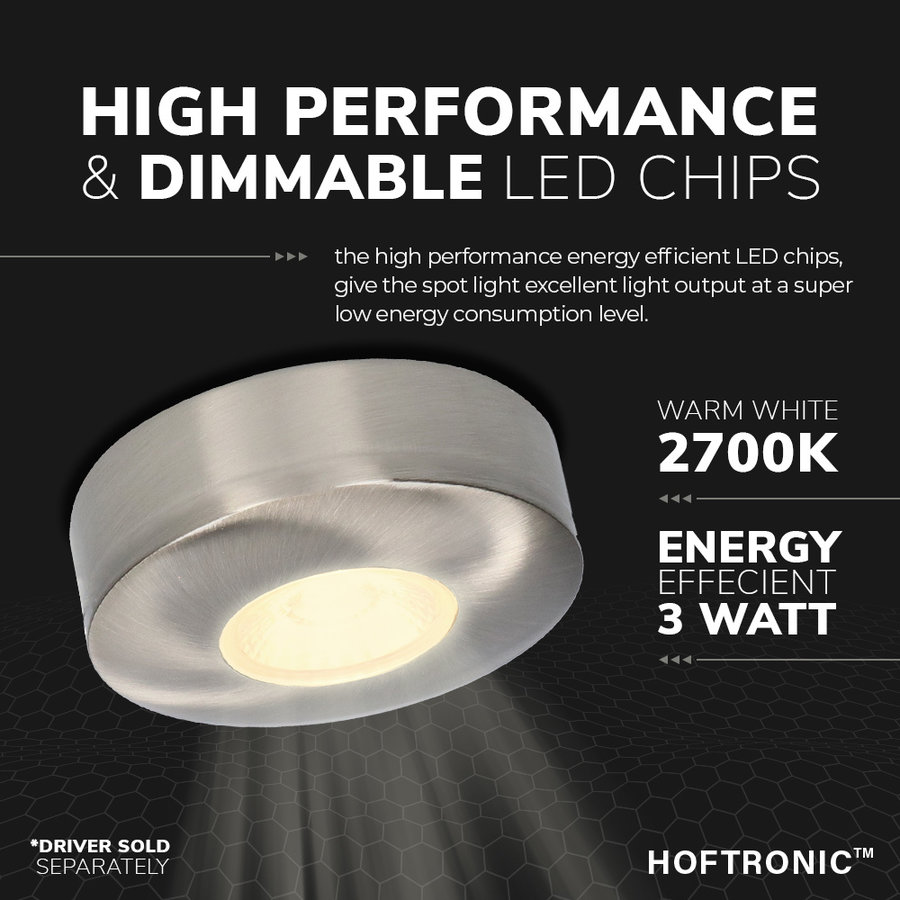 LED Opbouwspot Pavo RVS 3 Watt 2700K 260lm Ø69 mm