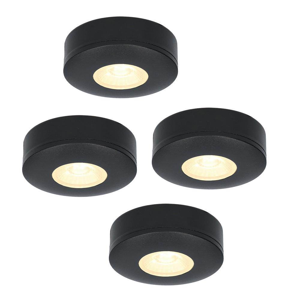 Set van 4 LED Opbouwspots Pavo zwart 3 Watt 2700K 260lm Ultra dun 23 mm