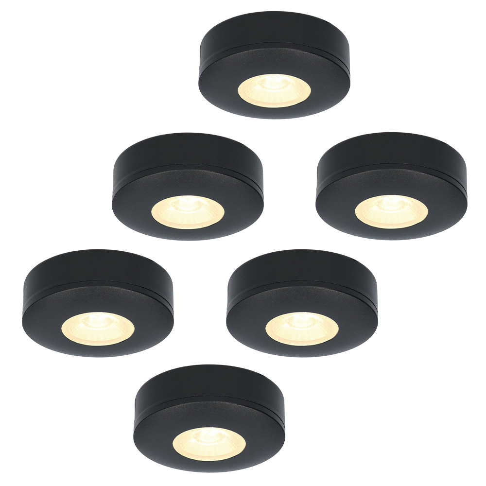 Set van 6 LED Opbouwspots Pavo zwart 3 Watt 2700K 260lm Ultra dun 23 mm