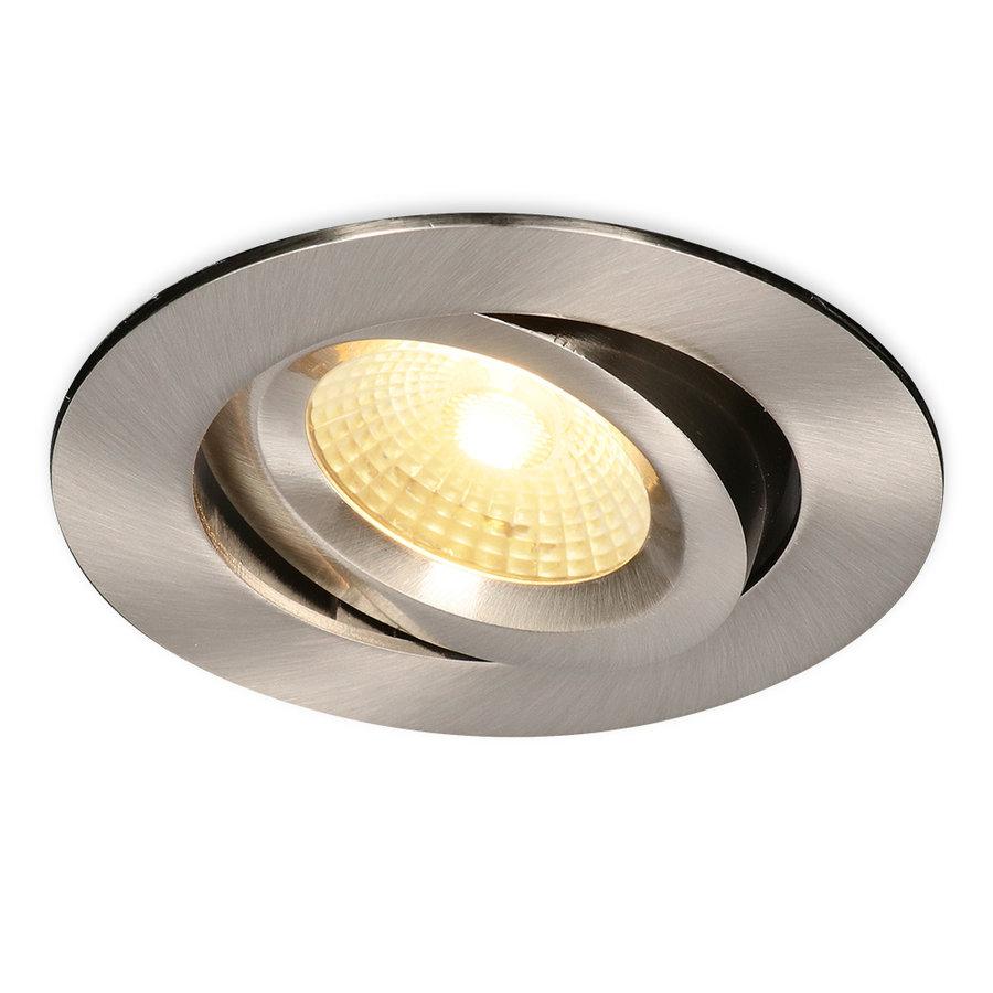 LED inbouwspot Salerno Roestvrij staal 8 Watt 2700K IP44 kantelbaar
