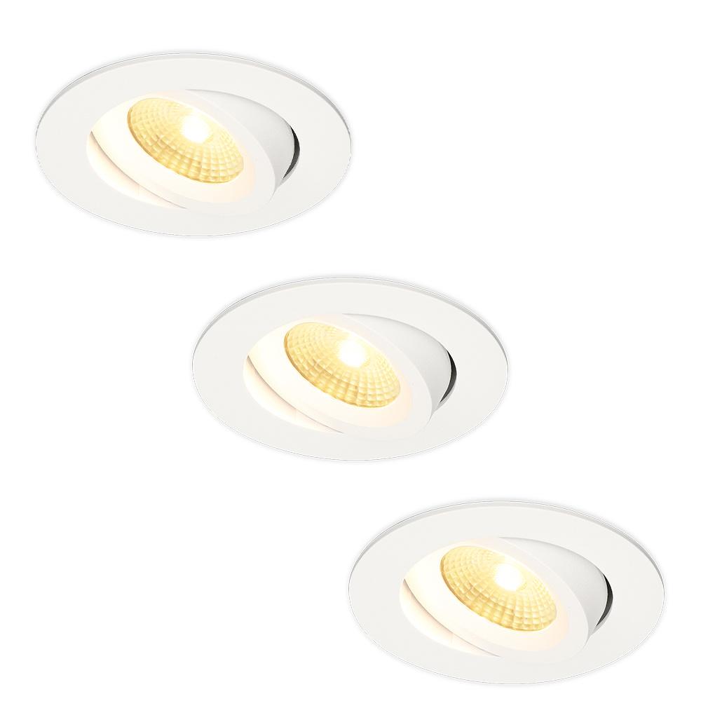Set van 3 LED Inbouwspots Salerno wit 8 Watt 2700K IP44 kantelbaar