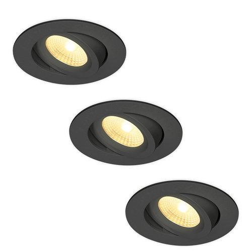 HOFTRONIC™ Set van 3 LED Inbouwspots Salerno zwart 8 Watt 2700K IP44 kantelbaar