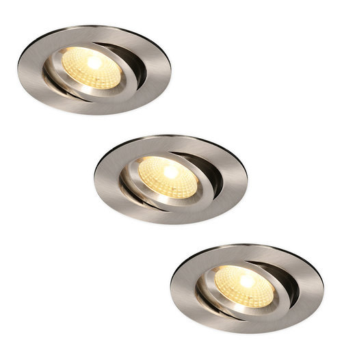 HOFTRONIC™ Set of 3 LED Downlights Salerno Black 8W 2700K IP44 tiltable