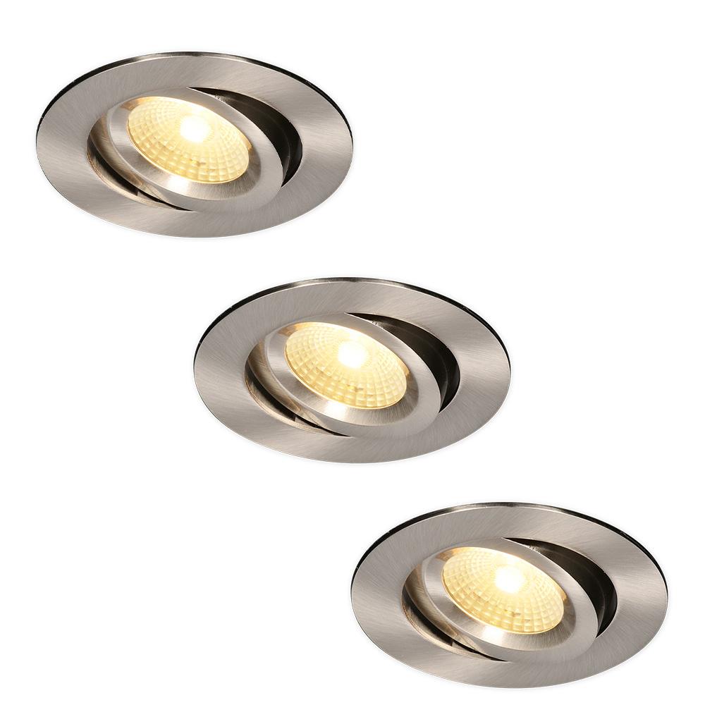 Set van 3 LED Inbouwspots Salerno Roestvrij staal 8 Watt 2700K IP44 kantelbaar