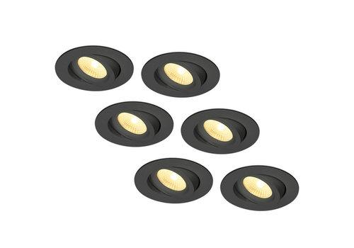 HOFTRONIC™ Set van 6 LED Inbouwspots Salerno zwart 8 Watt 2700K IP44 kantelbaar
