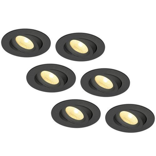 HOFTRONIC™ Set of 6 LED Downlights Salerno Black 8W 2700K IP44 tiltable