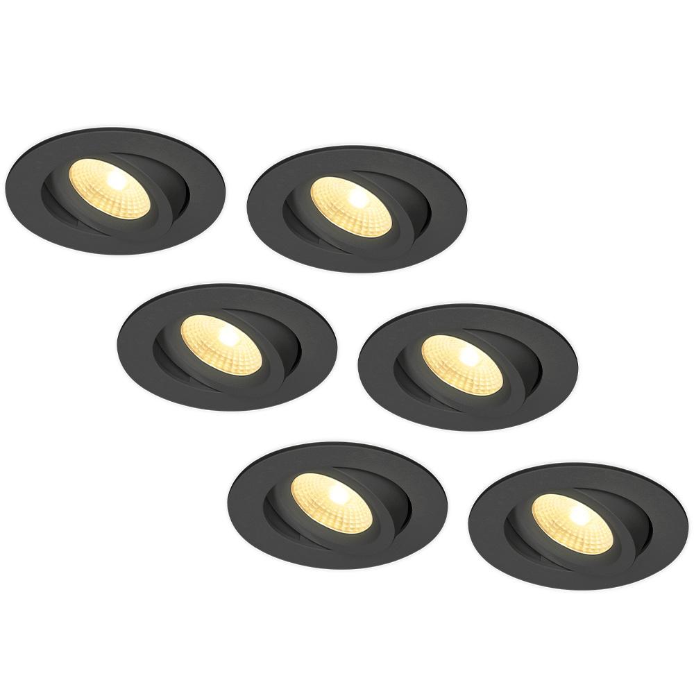 Set van 6 LED Inbouwspots Salerno zwart 8 Watt 2700K IP44 kantelbaar