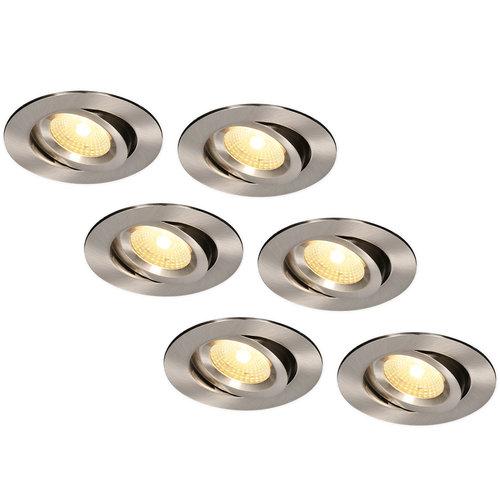 HOFTRONIC™ Set van 6 LED Inbouwspots Salerno Roestvrij staal 8 Watt 2700K IP44 kantelbaar
