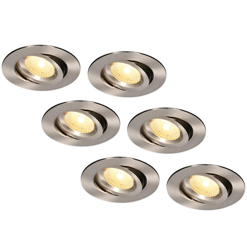 Set van 6 LED Inbouwspots Salerno Roestvrij staal 8 Watt 2700K IP44 kantelbaar