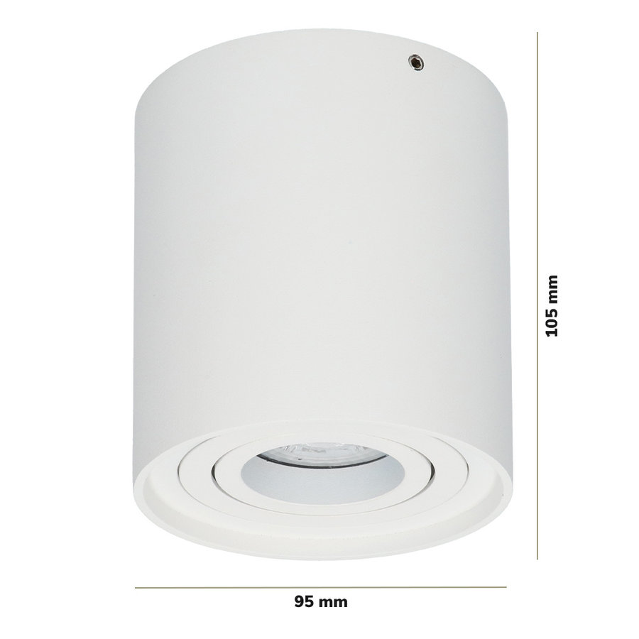 Dimbare LED Opbouwspot Ray Wit 5W 6000K IP20 kantelbaar