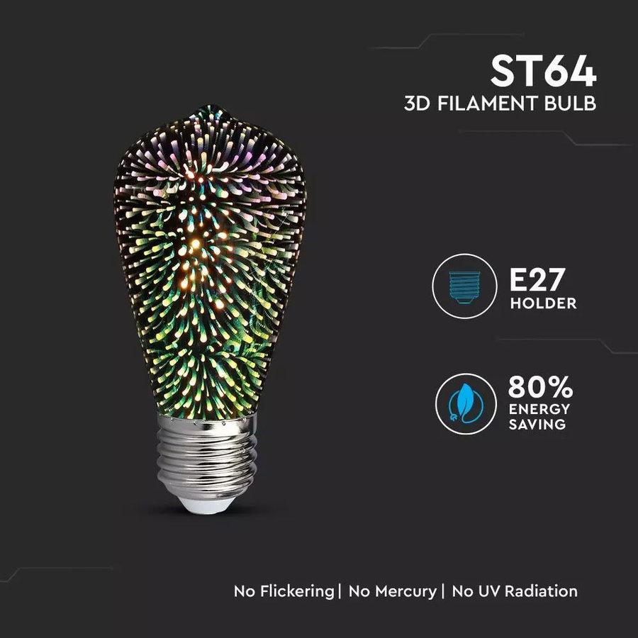 LED Filament lamp Nelo 3D 3 Watt E27 3000K