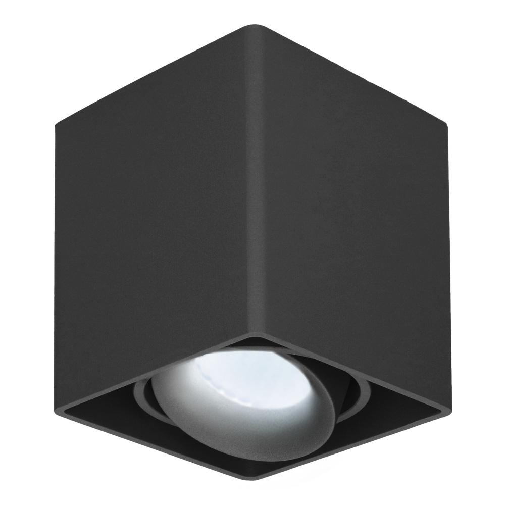 Dimbare LED Opbouwspot plafond Esto Zwart incl. GU10 spot 5W 6000K IP20 kantelbaar