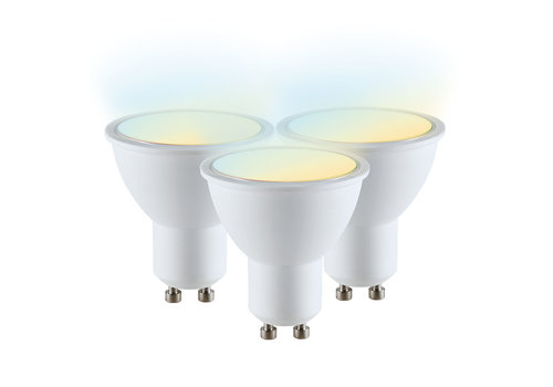 V-TAC Set van 3 GU10 110° SMART LED Lampen CW-WW Wifi 4.5 Watt Dimbaar