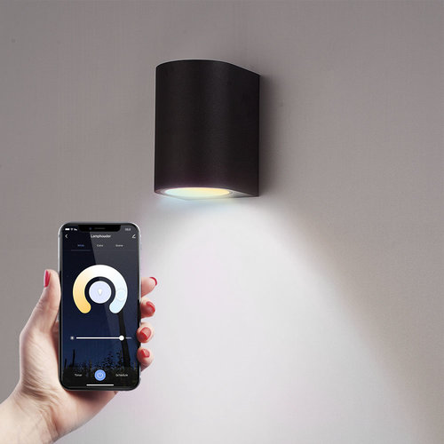 Homeylux Smart WiFi LED wall light Alvin black WW-CW GU10 IP44