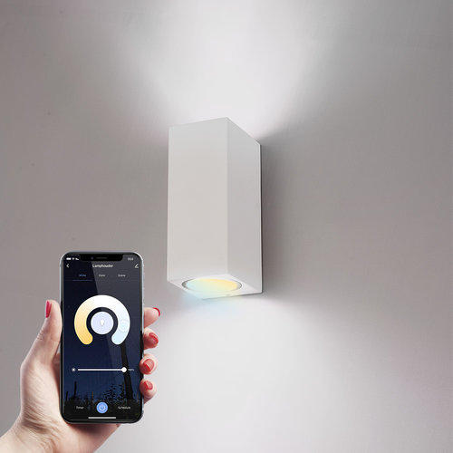 Homeylux Smart WiFi LED wall light Selma white WW-CW GU10 IP44 double-sided illuminating