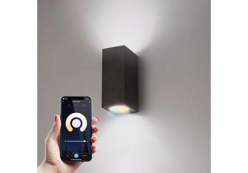 Homeylux Smart WiFi LED wall light Selma black WW-CW GU10 IP44 double-sided illuminating
