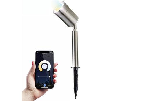 Homeylux Smart WiFi LED Prikspot Nancy RVS WW-CW IP44 vochtbestendig 3 jaar garantie