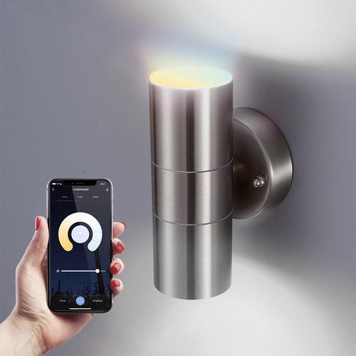 Homeylux Smart WiFi LED Wall light Jasmin WW-CW GU10 Stainless Steel IP44