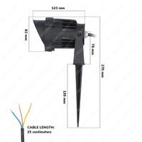 Set van 3 LED Prikspots Lenzo Cap 10 Watt 3000K IP65 waterdicht zwart