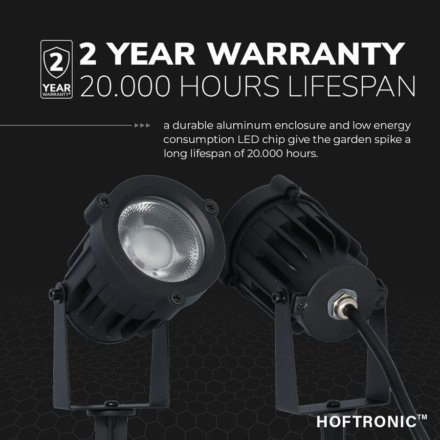 Set van 3 LED Prikspots Lenzo 10 Watt 3000K IP65 waterdicht zwart