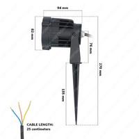 LED Prikspot Lenzo 15 Watt 3000K IP65 waterdicht zwart