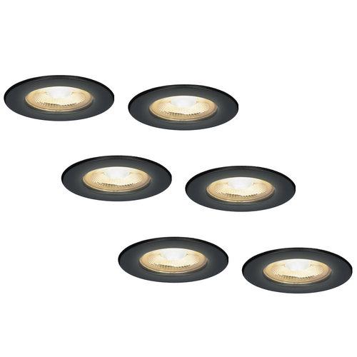 HOFTRONIC™ 6x Nola LED inbouwspot zwart IP65 5W 2700K warm wit dimbaar 5 jaar garantie