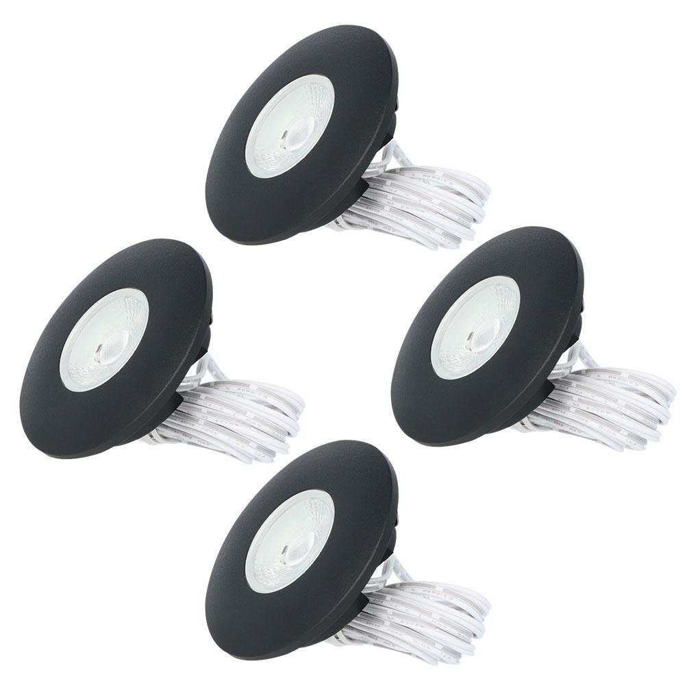 Set van 4 LED Inbouwspots Pavo zwart 3 Watt 2700K 260lm Ultra dun 12 mm
