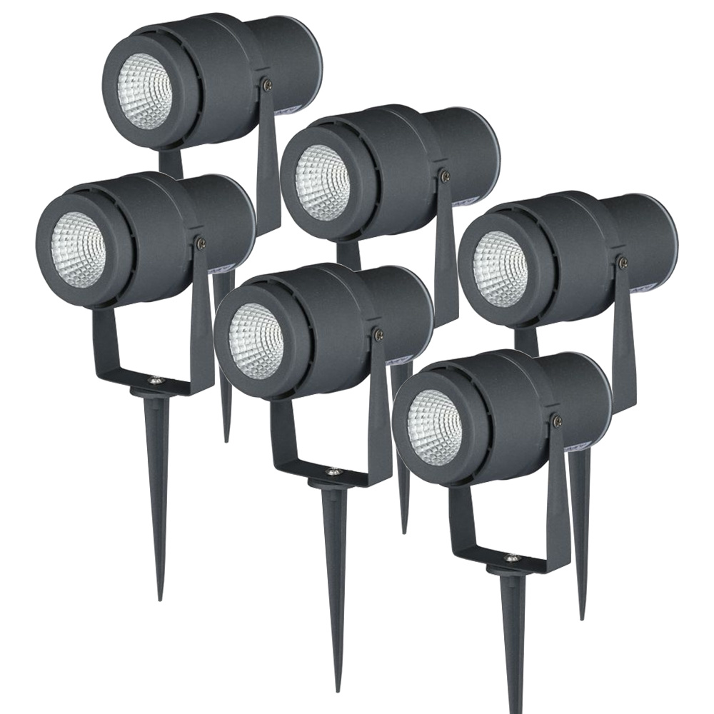 Set van 6 LED aluminium prikspots 12 Watt 720 lumen 4000K IP65 waterdicht antraciet