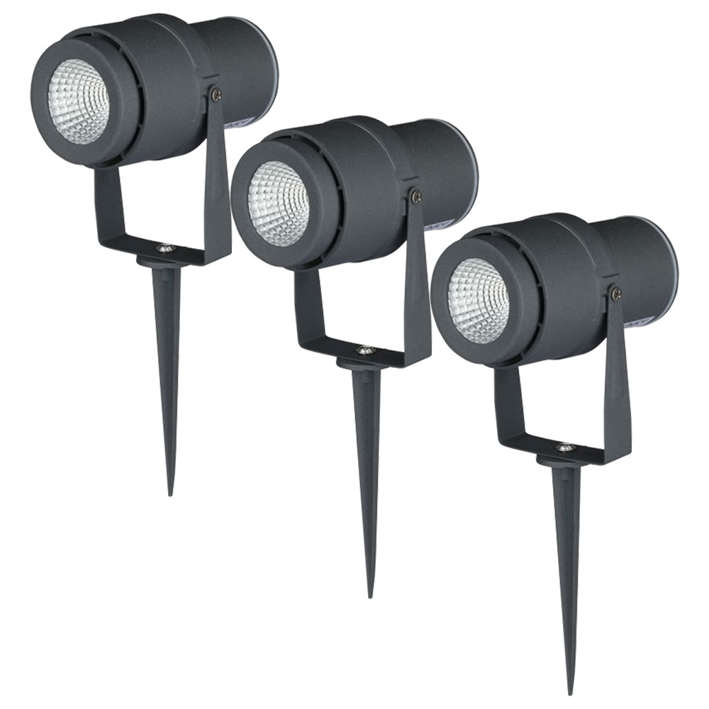 Set van 3 LED aluminium prikspots 12 Watt 720 lumen 4000K IP65 waterdicht antraciet