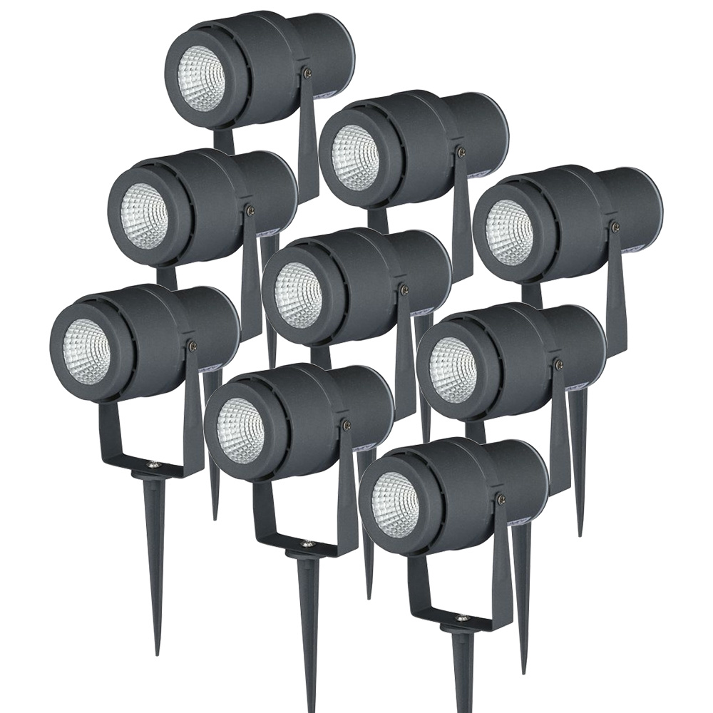 Set van 9 LED aluminium prikspots 12 Watt 3000K IP65 Antraciet