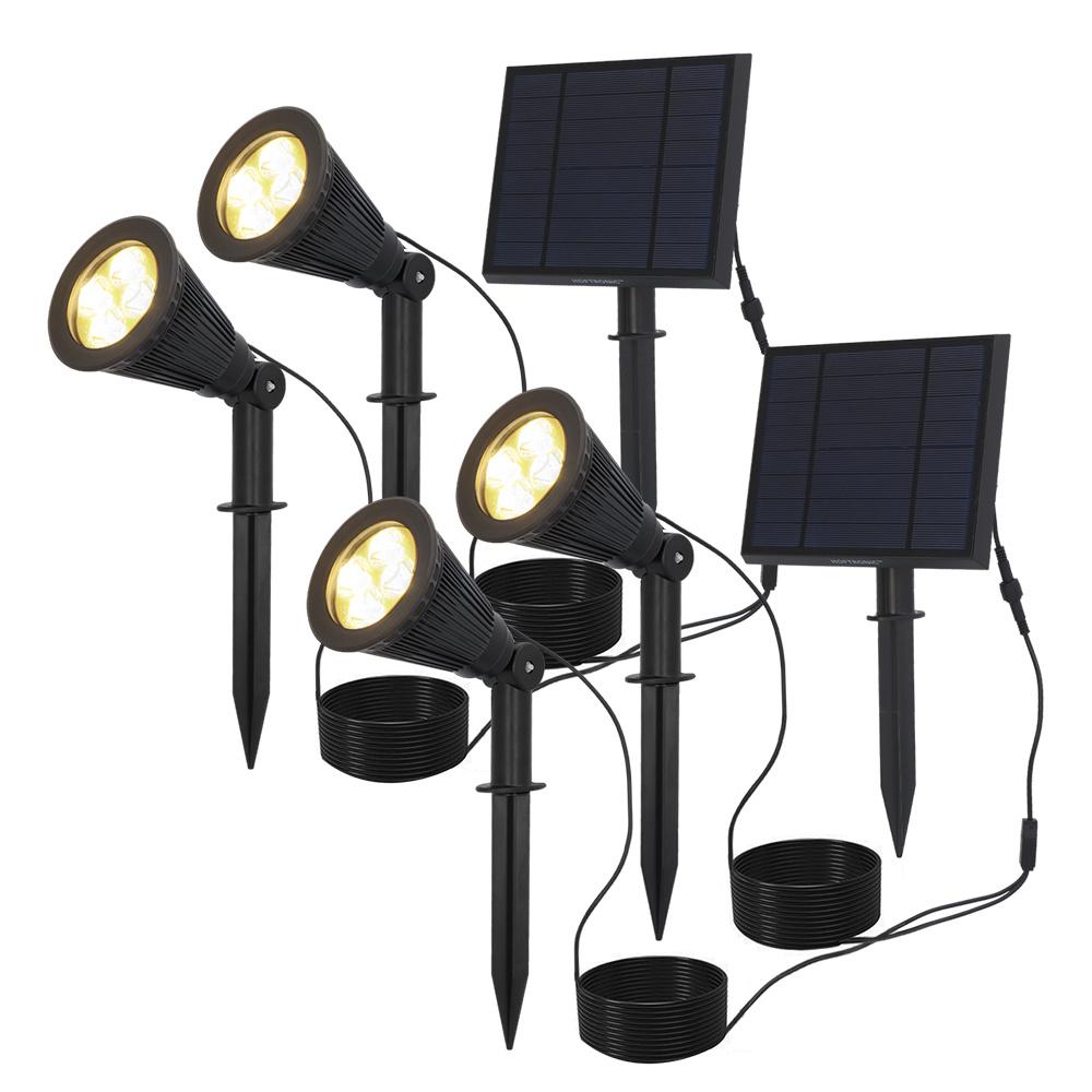 2x Solar LED tuinspot Bend Duo met los zonnepaneel 3000K warm wit Prikspot Grondspot