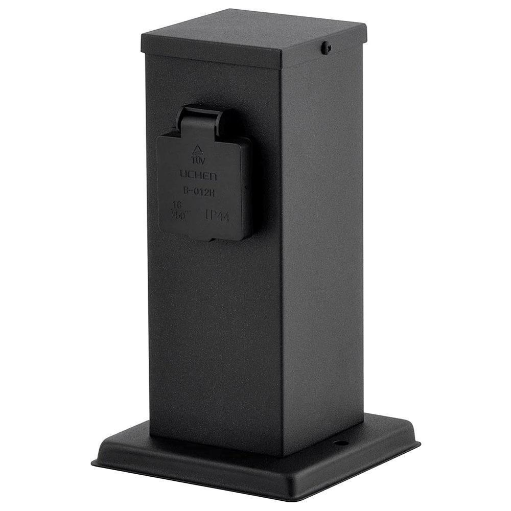 Buitenstopcontact paal zwart IP44 - 2 stopcontacten
