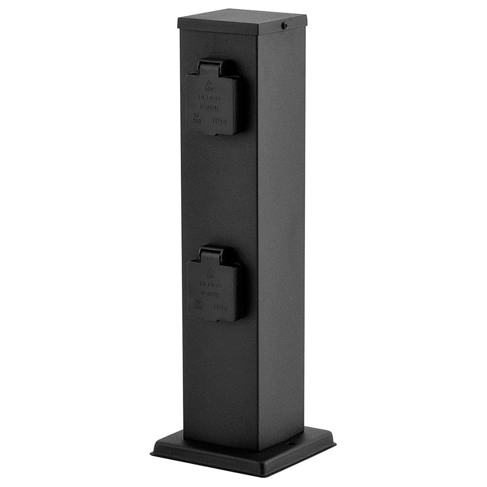 Buitenstopcontact paal zwart IP44 - 4 stopcontacten