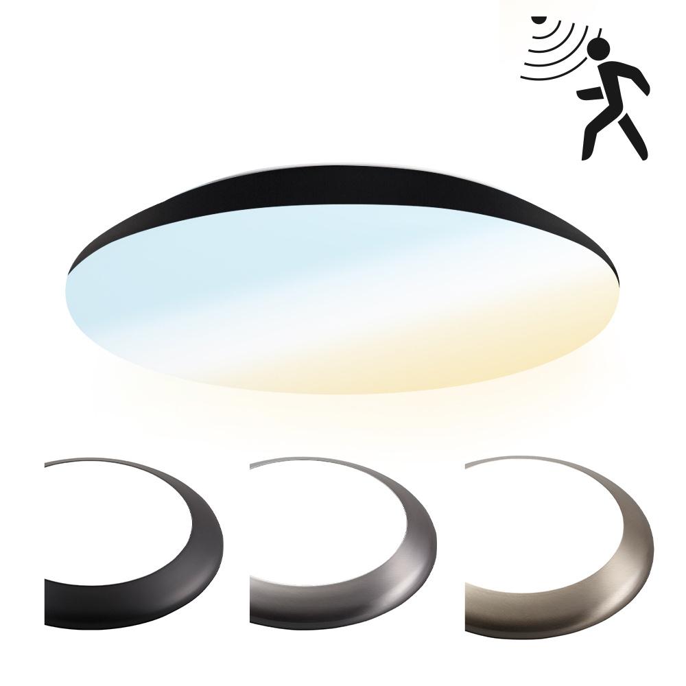 LED Plafondlamp/Plafonniere met sensor 18W Lichtkleur instelbaar - 1900lm - IK10 - Ø30 cm - Zwart -