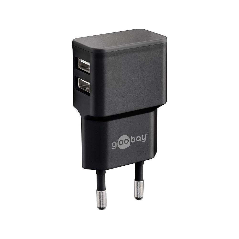 USB-A adapter - USB-A oplader - CEE 7/16 - USB-A adapter - 2 poorts - 2400mA - 12W - zwart