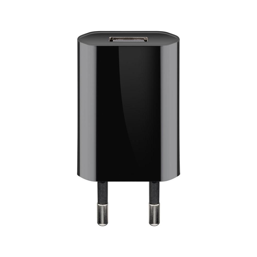 USB-A adapter - USB-A oplader - CEE 7/16 - USB-A adapter - 1 poorts - slim - 1000mA - 5W - zwart