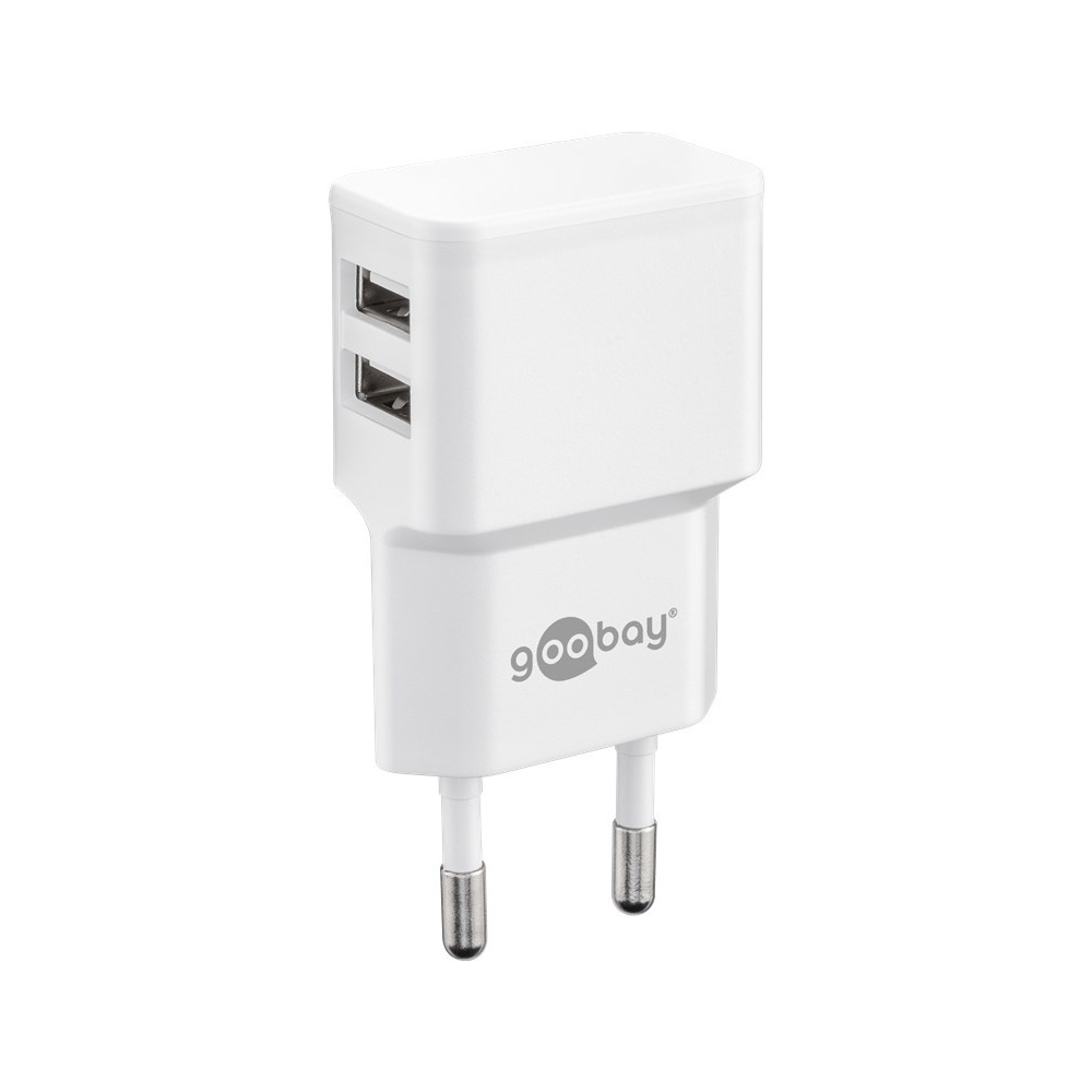 USB-A adapter - USB-A oplader - CEE 7/16 - USB-A adapter - 2 poorts - 2400mA - 12W - wit