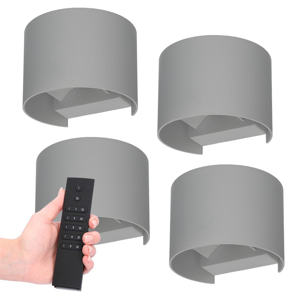 Set van 4 dimbare LED Wandlamp Denver grijs 6 Watt - 3000K - Up & Down light - IP54 - Incl. dimmer m