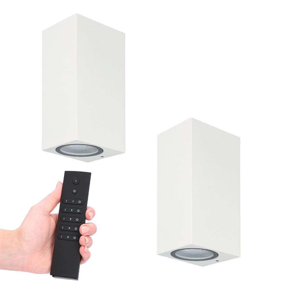Set van 2 dimbare LED wandlamp Selma Wit - 2700K - GU10 - Up & Down light - IP65 - Incl. dimmer met