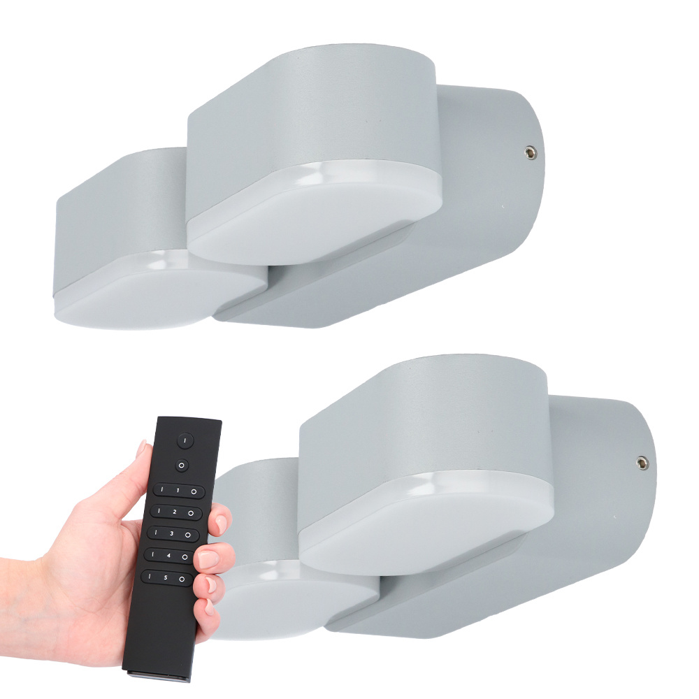 Set van 2 dimbare LED Wandlamp Dayton dubbel grijs 12 Watt - 3000K - Up & Down light - kantelbaar -