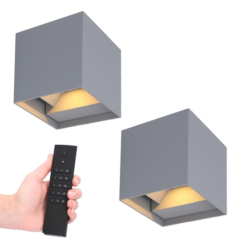 Set van 2 dimbare LED Wandlamp Kansas grijs 6 Watt - 3000K - Up & Down light - IP54 - Incl. dimmer m