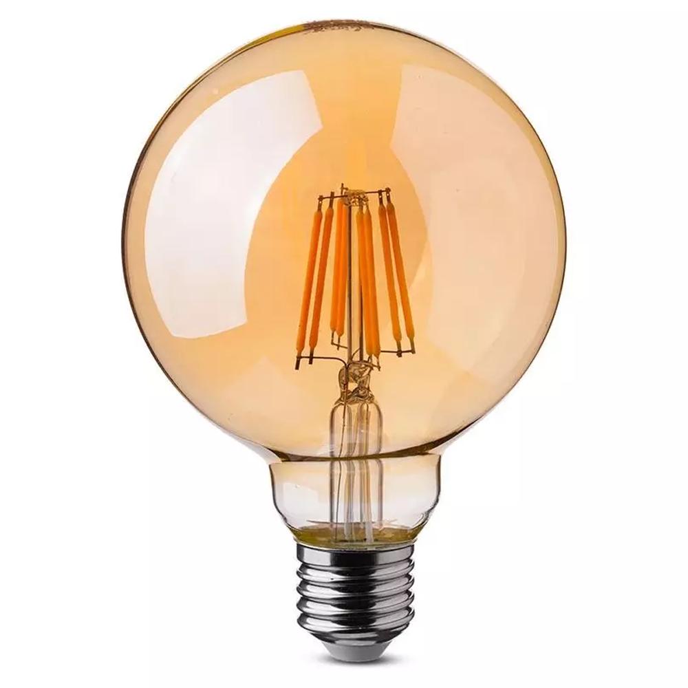 Dimbare LED gloeilamp G125 met E27 fitting 8 Watt 700lm super warm wit 2200K