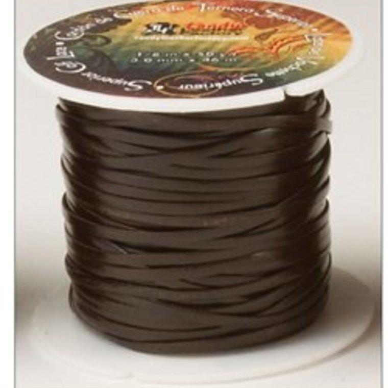 Vlechtband kalfsleder 2,3 mm, donkerbruin