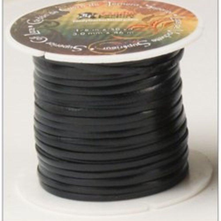 Vlechtband kalfsleder 2,3 mm, zwart