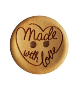 CuteDutch Houten knoop - Made with love 20 mm