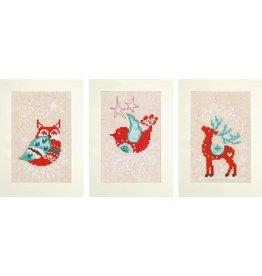 Vervaco Borduurpakket wenskaart winterfiguren aida set van 3