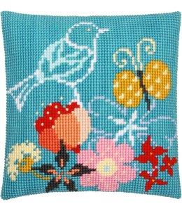 Vervaco Kussen vogel en vlinder in blauw